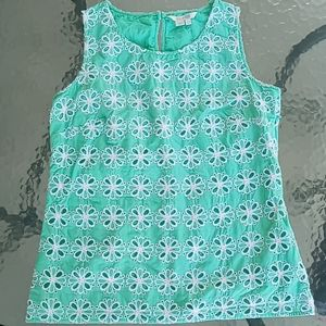 Boden Green and White Floral Eyelet Tank Top
